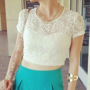 Lace Embroidered Crop Top